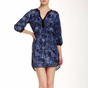 """Parker """" Rosette Navy 3/4 Length Sleeve Dress"""